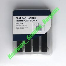 MODERN  Flat Metal  Bar Draw Kitchen Cabinet Handle MATT BLACK 128mm Pack of 4