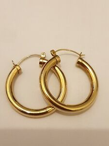 9ct/375 Yellow Gold Creole Style - Earrings 3 Grams Nice 30mm