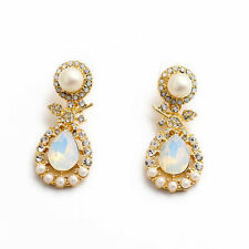 NEW Signature Anthropolo​​gie Moroccan Opal Pearl Gold Earrings