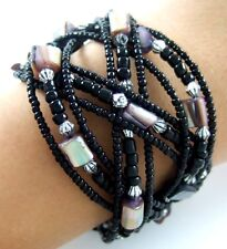 """1.8"""" Abalone Shell Seed Beads Memory Wire Cuff Bracelet 6&#0 00004000 34;-8"""" adjustable ; Fa088"""
