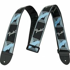 "Fender 2"" Monogrammed Guitar Strap with Fender Logo, Black/Grey/Blue"