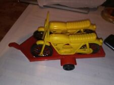 Vintage Plastic Motorcycles with tow trailer great shape jay toys