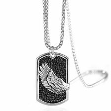 Men Pendant Necklace Carved Wing Shield Style Long Chain Stainless Steel Jewelry