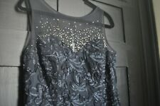 Ignite Evenings Women's Missy Beaded Embroidered Illusion Neck Dress Navy 14 NWT