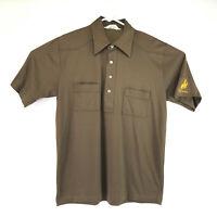 Awesome VTG SAHARA brand brown mens 2 pocket Wyoming Cowboy large polo shirt
