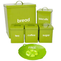 5PC METAL GREEN BREAD BIN STORAGE CANISTERS SET SUGAR COFFEE TEA ENAMEL COATED