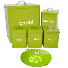5PC METAL GREEN BREAD BIN STORAGE CANISTERS SET SUGAR COFFEE TEA ENAMEL COATED