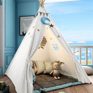 Large Teepee Tent Kids Cotton Canvas Play House Boy Girls Wigwam Gift White Pink