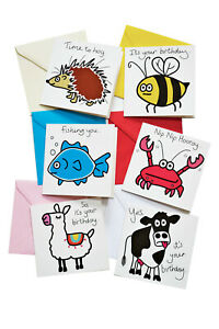 PACK OF 6  Mixed Birthday Cards. Coloured envelopes