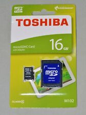 Toshiba 16GB Micro SDHC Memory Card with SD Adapter M102 Class 4 New