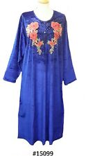15099 Ladies' knitted  Velvet multi  colour embroidery floral long kaftan (XL)