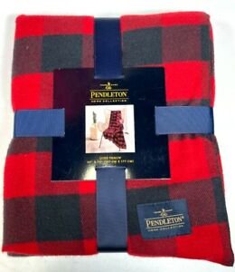 New Pendleton Home Collection Luxe Red Blue Throw Blanket 50 X 70 Rob Roy New