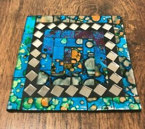 1x Square mosaic coaster ceramic and glass tile place heat rest drink stand