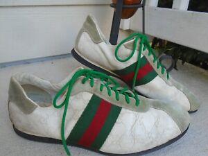 Authentic Gicci signature stripes monogram logo mens lace up sneakers sz US 12D