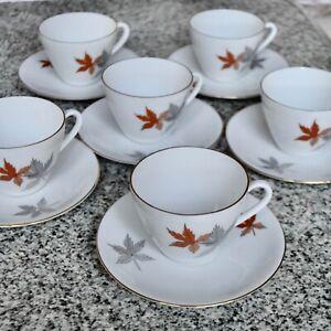 *Vintage Seltmann Weider K Bavaria Set 6 Cup & Saucer Set Leaf Motif