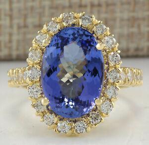 7.95 Carat Natural Tanzanite 14K Yellow Gold Diamond Ring