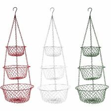 Fox Run 3 Tier Hanging Food Kitchen Bathroom Storage Baskets Colors May Vary