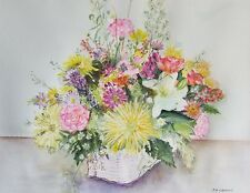 "Painter Suzanne Obrand, Holocaust Survivor, Watercolor ""Basket of Flowers #2"""