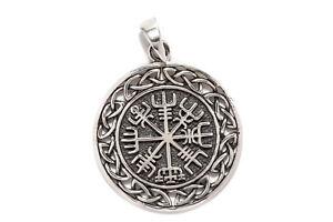 Kompass Knoten Vegvisir Wikinger Anhänger 925er Silber Symbol Schmuck - Neu