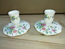 Pair Of Crown Staffordshire Fine Bone China Candle Holders Candlesticks Pagoda