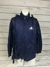 Vintage Adidas Jacket in Blue Hooded Windbreaker Packable Anorak M 90s | A4