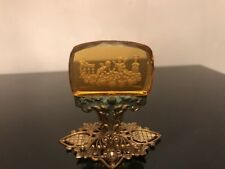 Antique Art Deco Czech Amber Glass Intaglio Place Card Holder