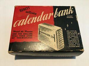 Vintage Calendar Bank Original Box with Key M. A. Gerett Allcoin Ellsworth Maine