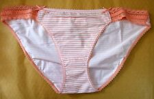 M & S Size 12 Bikini Briefs Knickers Panties Stretchy cotton stripey White