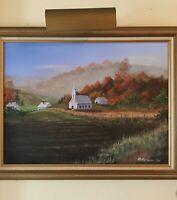 A Beautiful Rural Church Landscape Original Oil O/C Framed Signed D.R.Novak