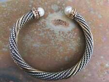 14KT Yellow Gold Sterling Silver Cuff Bangle Bracelet Alwand Vahan Pearl