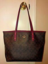 Vintage COACH Leather Shoulder Bag Purse Brown Pink SIGNATURE Logo Handbag RARE
