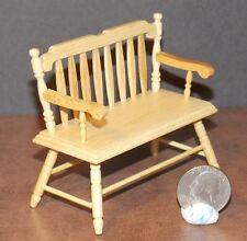 Dollhouse Miniature Deacon Bench Oak Finish 1:12 inch scale D15 Dollys Gallery
