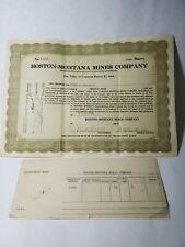 Boston-Montana Mibes Company Stock Certificate With Receipt