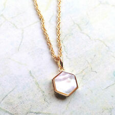 Bill Skinner Gold Plated Filigree Mini Hexagon Pendant Necklace Mother of Pearl