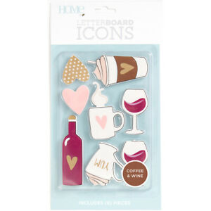 American Crafts DCWV Letterboard Icons-Coffee & Wine, LP00600-33