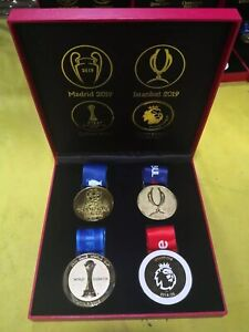 NEW!!! Liverpool FC 2019-2020 4 championship Medals with Display Box