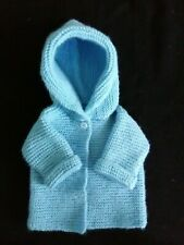 Hand Knit Unisex Baby Hoodie Sweater in Blue