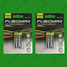 4x aaa rechargeable fusionmax nimh piles, HR03, 1.2V, ni-mh, 350mAh