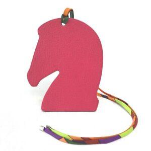 HERMES Samarkand Horse ornament Bag charm Chevre / silk Pink purple / orange