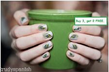 Nail Art Water Decals Wraps Decoration Brown Green Peacocks Feathers Gel Polish