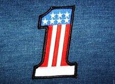 Aufnäher Patch Number No Nr. 1, USA Flagge, Rocker Biker Trucker Jacke Aufbügler
