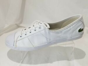 Lacoste White Leather Laced Sneakers Casual Shoes Women's Size 9
