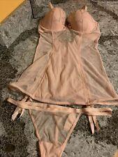 NWT 2pc Set: Victoria's Secret teddy garter sissy sparkles Mesh 36D & Thong Htf
