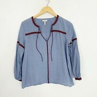 Joie Malen Chambray Top Women's size Small Embroidered Trim Detail V Neck
