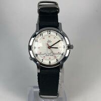 Vintage Timex Womens Pulse Timer Indiglo Black Band White Dial Analog Watch