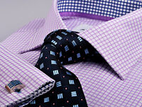 Mens Purple Formal Business Dress Shirt Shepherd Plaids & Checks Egyptian Twill