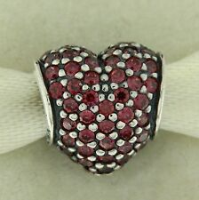 Authentic Pandora 791052CZR Red Pave Heart Mother's Day Bead Charm