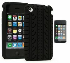 For iPhone 3G,  Slim Fit TPU Flexible Thin Gel Case-Black+Screen Protector
