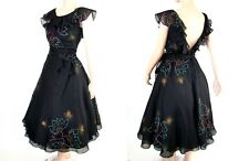 Vtg 60s Dot Floral Airbrush Chiffon Ruffle Neck Low Back Cocktail Party Dress M
