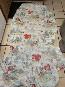 Vintage Disney The Little Mermaid Twin Sheet Flat and Fitted and pillow Arie